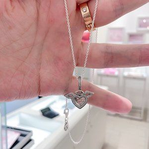 🎆NWT Pandora Heart & Angel Wings Chain Necklace